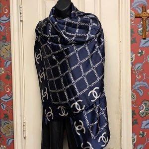 Auth 💯 Chanel silk scarf oversized shawl
